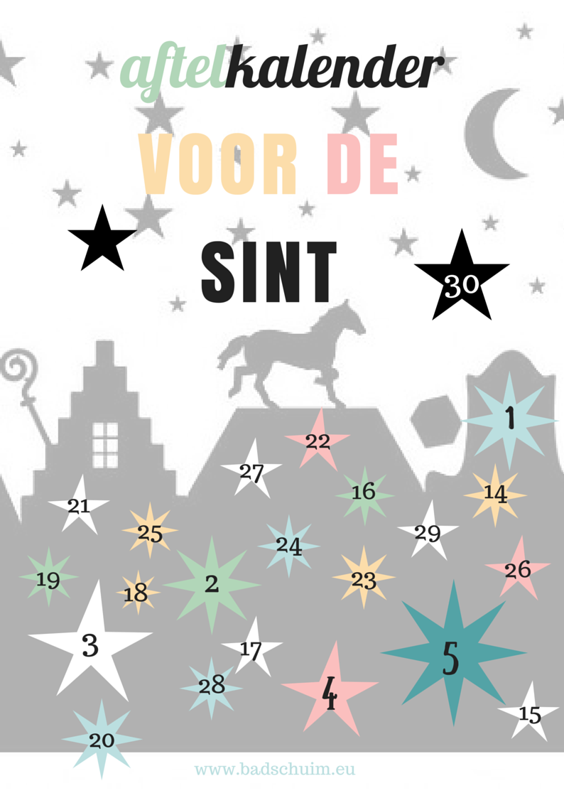 Aftelkalender Sinterklaas_gratis te downloaden op creatief lifestyle blog www.badschuim.eu