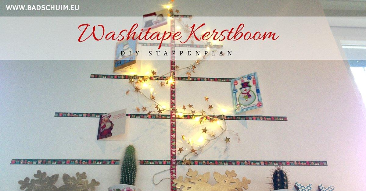 washi tape kerstboom zelf maken - gemaakt door het creatief lifestyle blog www.badschuim.eu