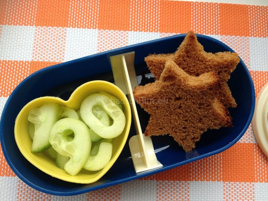 Bento box ideeën voor de lunch, komkommer cijfers