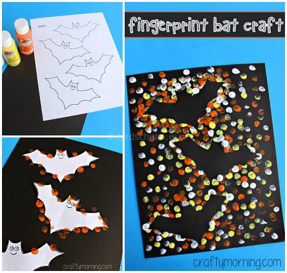 Knutselen Halloween - vingerverf vleermuis afdruk I te vinden op het creatief lifestyle blog Badschuim