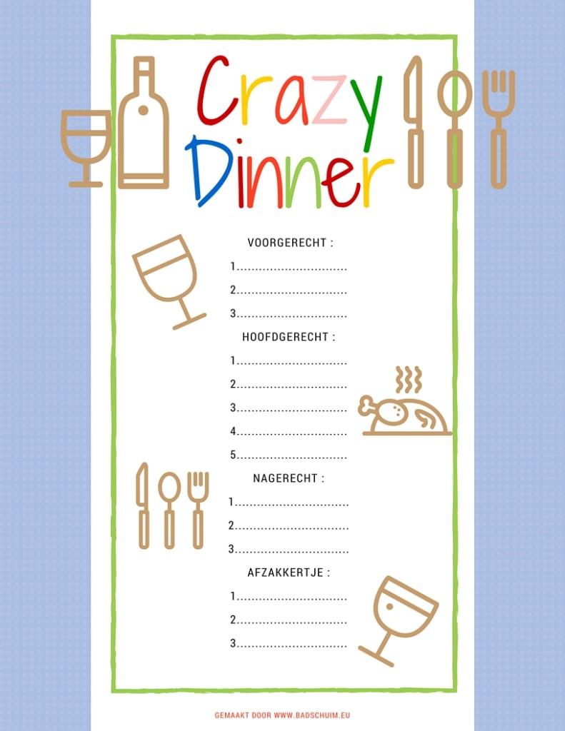 Crazy Dinner menu het invulvel - gemaakt door het creatief lifestyle blog www.badschuim.eu