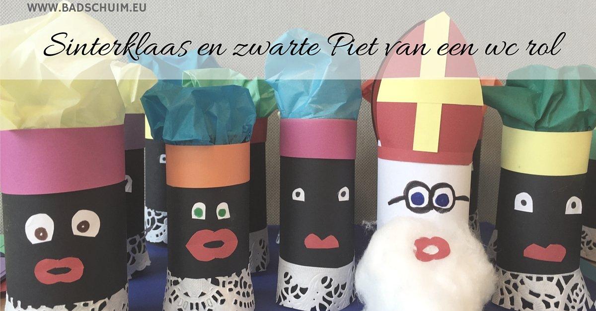 Sinterklaas en zwarte piet van een wc rol - hier vind je het stappenplan met foto's - gemaakt door het creatief lifestyle blog www.badschuim.eu