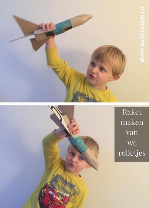 raket van wc rolletjes - DIY stappenplan