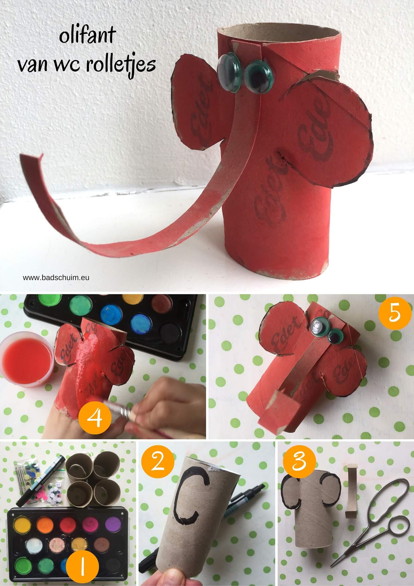 Maak je eigen dierentuin van wc rolletjes. Dit is deel 1: een olifant van een wc rolletje. Makkelijk te maken met dit foto diy stappenplan!