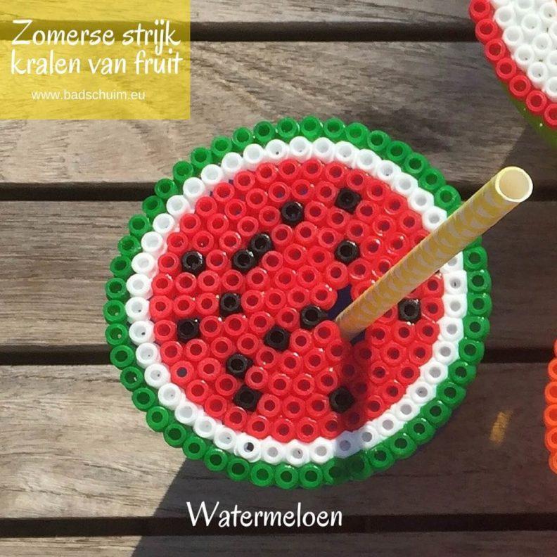 Strijkkralen fruit, watermeloen, strijkkralen patroon,