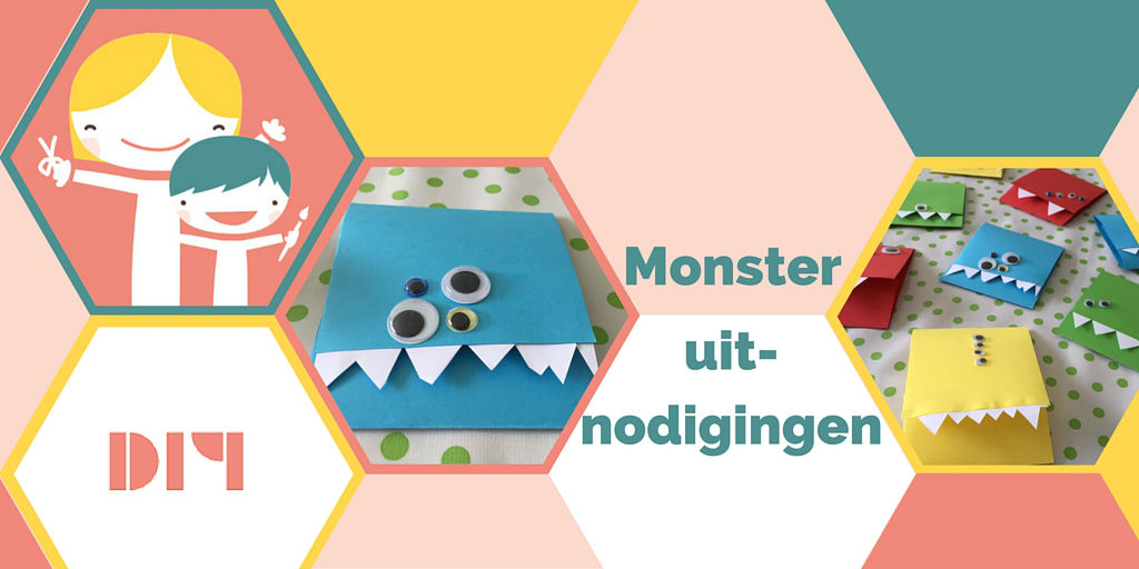 Monster uitnodigingen, monster uitnodiging, uitnodiging zelf maken, uitnodiging kinder verjaardag, kinderfeestje uitnodiging diy