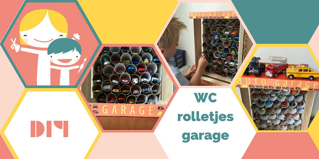 wc rolletjes garage, garage van wc rolletjes, wc rol garage, knutselen met wc rolletjes, wc rollen garage