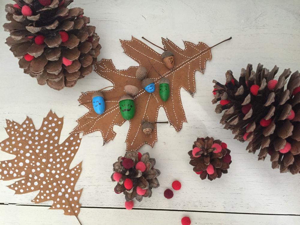 eikels verven, eikels versieren, herfst decoratie tips
