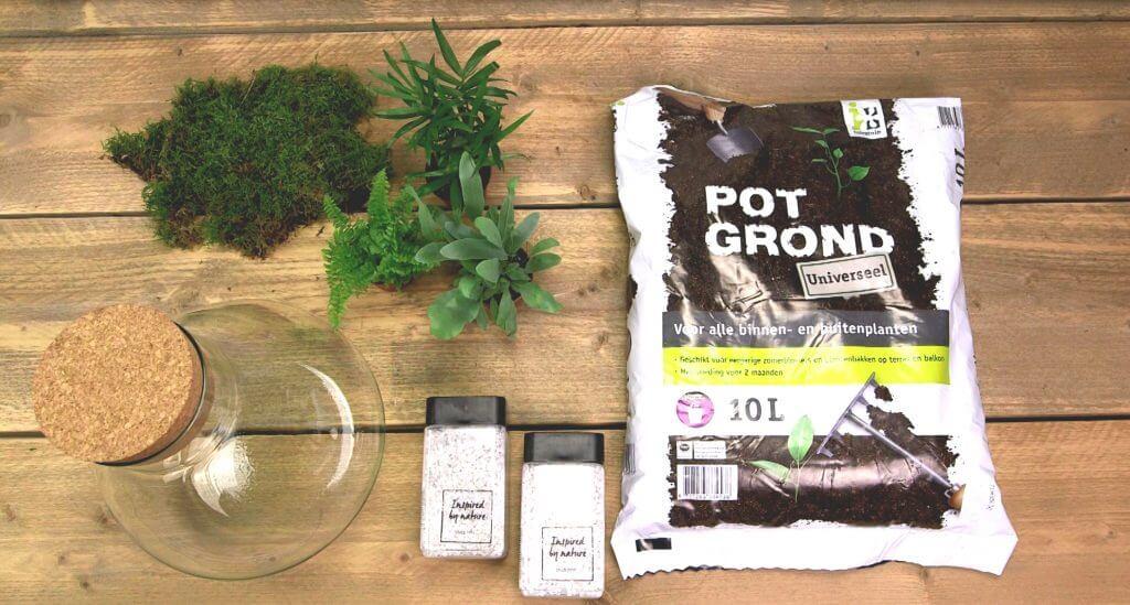 Materialen voor planten terrarium