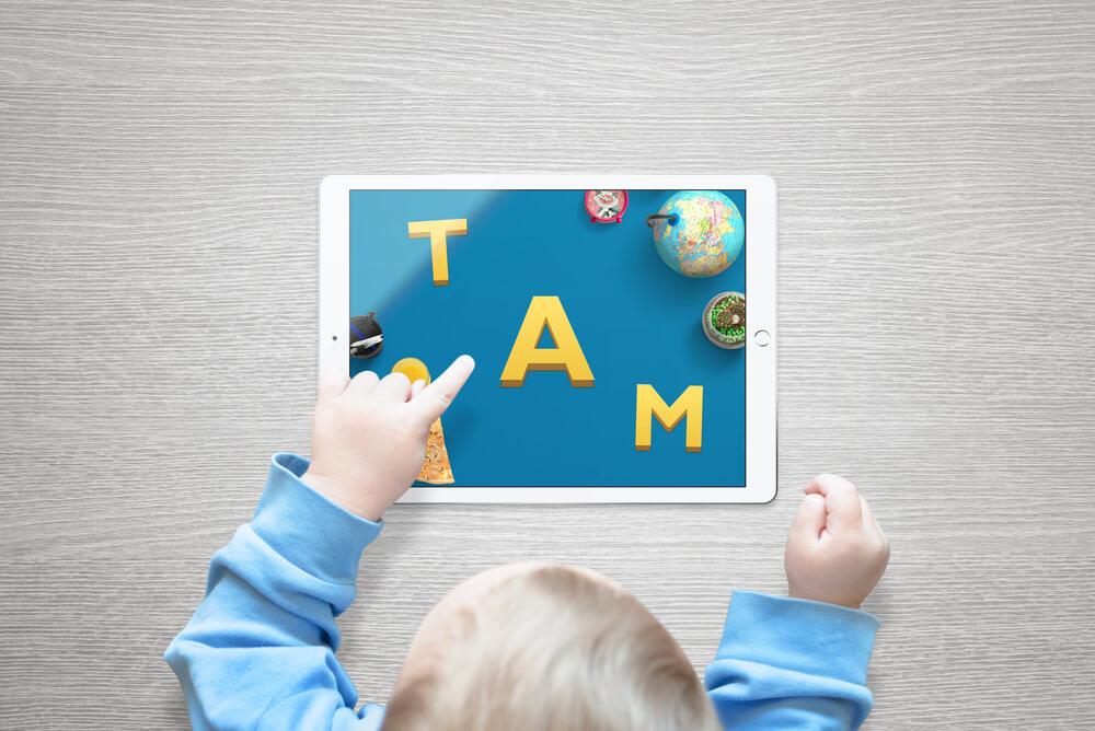 Spel op tablet